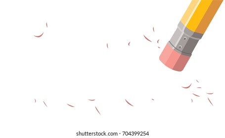 pencil top eraser, blank paper, word erased
