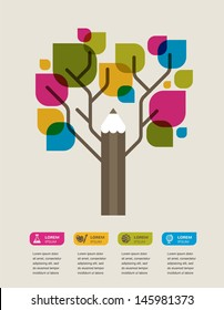 pencil tree, education theme infographic, data, icons and graphic elements