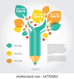 Pencil tree, info graphic about education and growing. Vector design elements