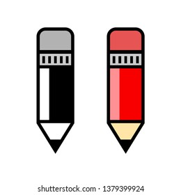 Pencil vector icons on white background