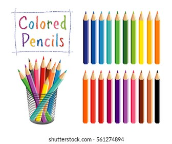 Pencils in 20 rainbow colors for school, home, office, art and craft projects, scrapbooks in desk organizer, isolated on white background. EPS8 compatible.