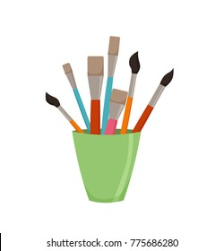 Pencils, brushes, in jar colorful vector illustration. Cartoon style design element for artist workplaceeinterior, school class, desk top