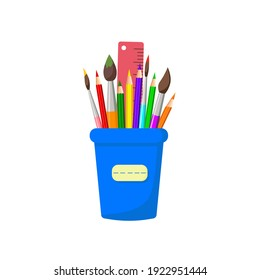 Pencils, brushes, ruler in stand, isolated on white background. Colorful Home and office stationery in blue stand. Pencil stand for website design, logo, ui. Cute vector illustration in cartoon style