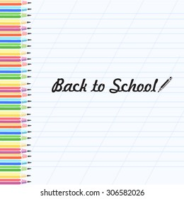 Pencils colors in vector. Back to school.