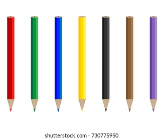 pencils of different colors on a white background