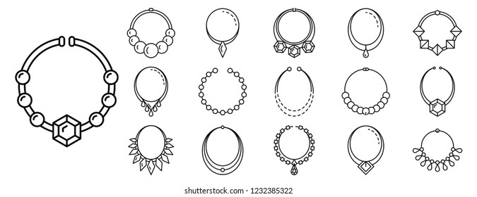 Pendant diamond jewelry icon set. Outline set of pendant diamond jewelry vector icons for web design isolated on white background