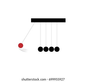 Pendulum Icon - Illustration Newton's Cradle, Ball, Toy, Change, Domino Effect, Sphere, Impact, Concepts, Balance