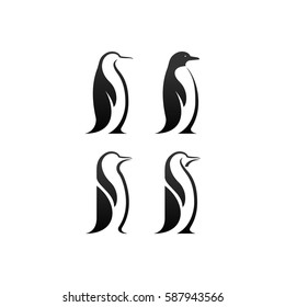 penguin bird vector logo, arctic animal symbol
