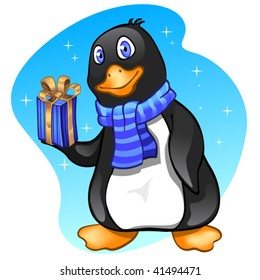 Penguin boy with present