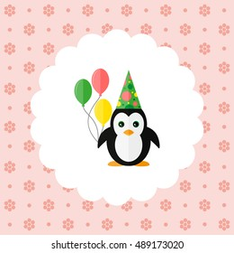 Penguin in the cap and with balloons. Flat vector illustration on floral pattern. Can be used for design greeting card, invitation or banner. All the elements can be used as icons or logos