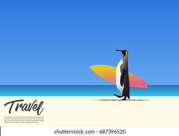 Penguin carrying surfboard and running on white sand beach while on summer vacation. Blue gradient sky background  with copy space for your text.  Vector Illustration.