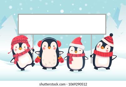 Penguin cartoon vector illustration. Penguins holding banner