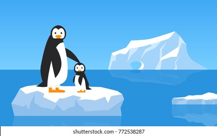 penguin with chick on  ice floe