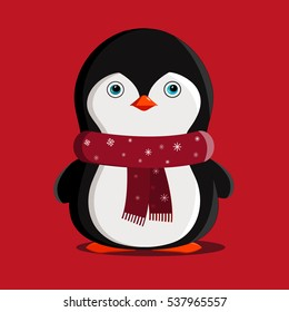 Penguin Christmas Animals Winter  Illustration  Isolated. cute cartoon penguin with scarf .