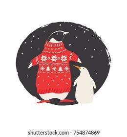 Penguin in Christmas costume