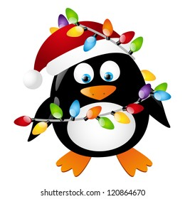 Penguin with Christmas light bulbs