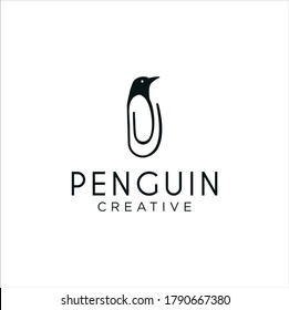 Penguin Clip Logo Idea Icon Design Stock Vector. Animal Paper Clips Logo Design Template. Monogram Bird Penguin Logo Line Outline clip
