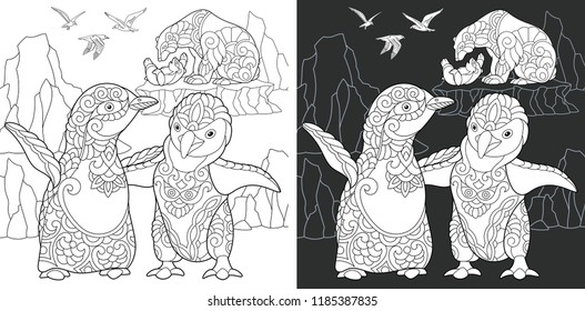Penguin. Coloring Page. Coloring Book. Colouring picture with polar animals drawn in zentangle style. Antistress freehand sketch drawing. Vector illustration.
