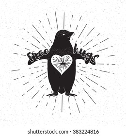 Penguin design poster with sun burst, heart. Related typographic quote Free Hugs isolated on white background. Typography vintage old element. Use for web, tee print