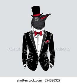 penguin dressed up in tuxedo, furry art illustration