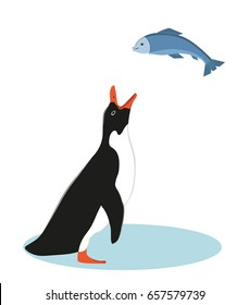 Penguin and fish. Vector Illustration.