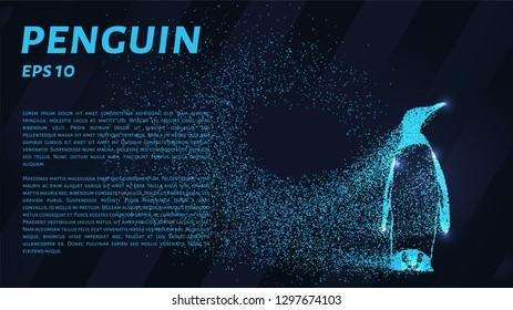 Penguin. A grid of blue stars in the night sky. Glowing dots create the shape of a penguin