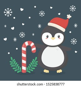 penguin with hat and cany cane snowflakes celebration merry christmas poster vector illustration
