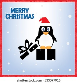 Penguin in the hat and gift box. Icon vector EPS 10. Merry Christmas greetings