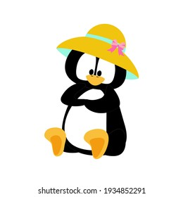 Penguin in hat vector illustration on the white background. Vector illustration