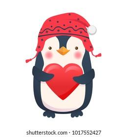 Penguin with heart. Penguin cartoon vector illustration.