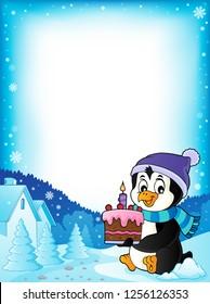 Penguin holding cake theme frame 1 - eps10 vector illustration.