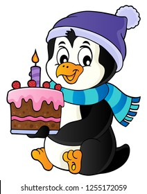 Penguin holding cake theme image 1 - eps10 vector illustration.