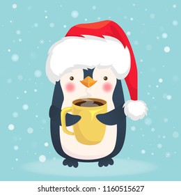 Penguin holding cup of coffee. Cute animal vector. Christmas penguin illustration