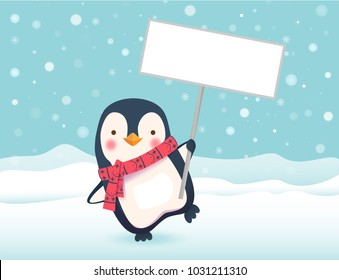 Penguin holding sign. Penguin cartoon vector illustration.