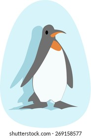 Penguin in ice blue oval