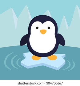 Penguin in Ice Theme Background. A little cute penguin standing on iceberg in winter background.