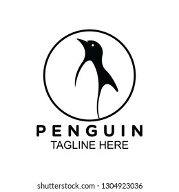 Penguin logo with circle border on black and white. clip art vector