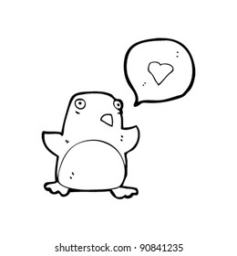 penguin with love heart cartoon