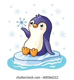 Penguin on an ice floe floats on the sea. Vector illustration of arctic animals in a children's style.