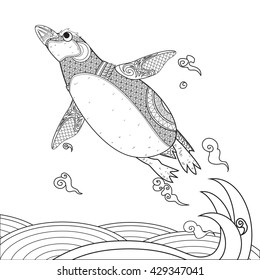 penguin on wave. black and white hand drawn doodle for adult antistress coloring page. and for tattoo, poster, print, t-shirt
