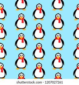 Penguin pattern. Vector illustration