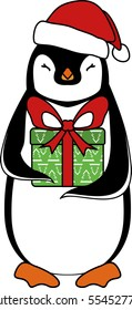 Penguin with a present