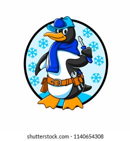Penguin refrigeration technician vector cartoon
