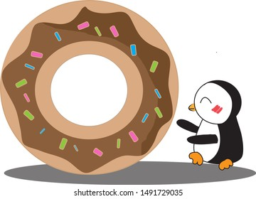 penguin is running follow her delicious donut