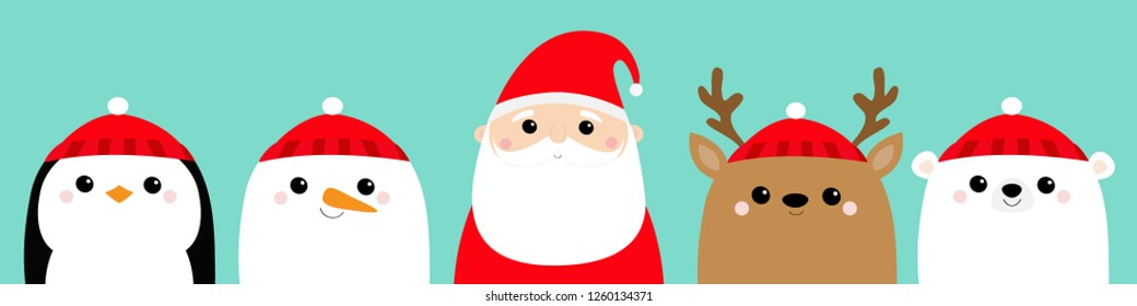 Penguin Santa Claus White polar bear Snowman Raindeer Deer bird face icon set. Merry Christmas. New Year. Cute cartoon funny kawaii baby character. Greeting card. Flat design Blue background. Vector