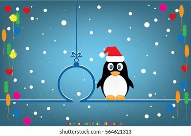 Penguin in Santa hat, Christmas toy icon vector illustration eps10.
