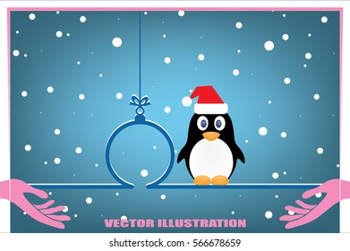 Penguin in Santa hat, Christmas toy icon vector illustration