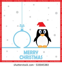 Penguin in Santa hats, Christmas toy icon vector illustration eps10.