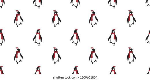 penguin Seamless pattern vector Christmas Santa Claus Hat Xmas bear polar cartoon scarf isolated tile background repeat wallpaper illustration