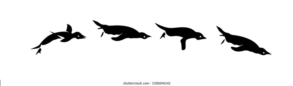 penguin set of jump to swimming  logo icon designs vector illustration silhouette
